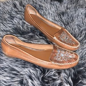 Talbots brown leather sequin loafer flats